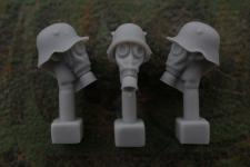 54mm German Head – M1918 Steel Helmet with Ear Cut-Outs and Gas Mask M1917